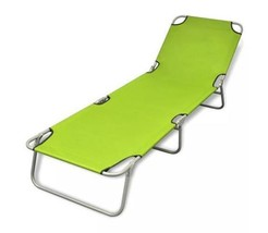Sun Lounger With Adjustable Backrest Outdoor Foldable Beach Camping Chai... - $75.45