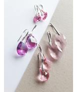 Pink Crystal Earrings, Pink Earrings, Brides Earrings, Bridesmaids Earri... - $16.00+