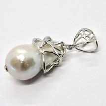 925 Silver Pendant with White Pearl FW Handcrafted Unique Pendant image 1