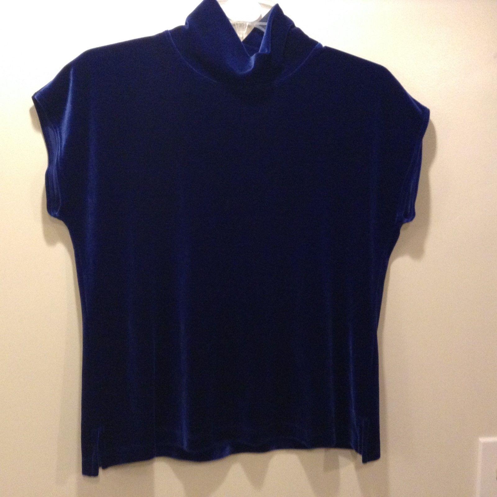 Chico's Dark Blue Med Weight Short Sleeve Shirt Sz 3