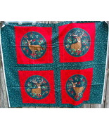 VIP Cranston Holly CHRISTMAS BUCK DOE DEER Fabric Panel Mistletoe Paisley - $15.00
