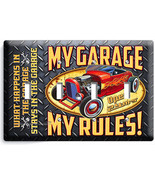 MY GARAGE RULES HOT ROD CAR 4 GANG LIGHT SWITCH WALL PLATES ROOM MAN CAV... - $17.99
