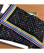 LOUIS VUITTON Monogram Scarf Bandana Silk 100% Luxury Auth New Never Use... - $506.70