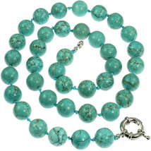 Genuine semi precious turquoise 1.2 cm round bead stone 50 cm choker nec... - $19.42