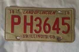 OLD 1968 ILLINOIS STATE LICENSE PLATE CAR AUTOMOBILE TAG IL YEAR 68 image 2