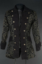 Men's Black Brocade Pirate Jacket Victorian Goth Vampire Jacquard Office... - $103.19