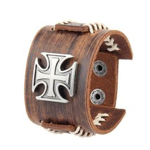 Brown Biker Cross Leather Cuff Bracelet - $22.50