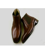 New Handmade Brown Chelsea Leather Boots, Ankle High Dress Formal Boots  - $139.00+