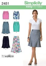 Simplicity Easy-to-Sew Pattern 2451 Misses Skirts, Each in 2 Lengths Sizes 12-14 - $15.68