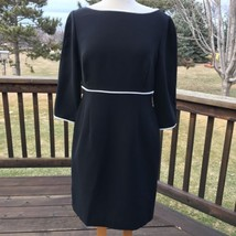 Liz Claiborne LBD Dress 12 Petite Open Back Black White Trim 3/4 Sleeve ... - $15.94