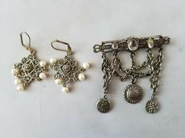 Fashion Vintage Jewelry Set Dangle Brooch Pin & Matching Earrings - $33.36