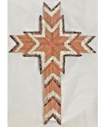 Vintage...Matchstick Cross Tramp Art Wood Vintage Americana Wood Wall Ha... - $15.88