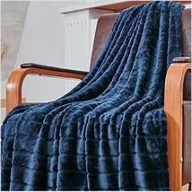 Glossy Faux Fur Flannel Throw Blanket All Season Sofa Bed Blue Soft Warm... - $31.75 CAD