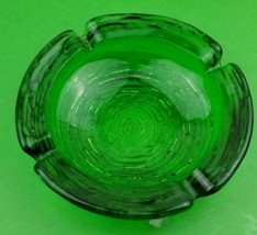 Vintage Anchor Hocking Soreno Green Ashtray Ripple Glass BirdNest Mid Ce... - $16.82