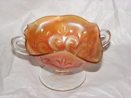 Dugan Glass Question Marks Marigold Carnival Glass 2 Handle bon bon bowl - $19.79
