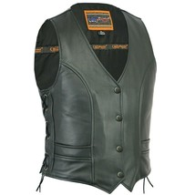 WOMEN'S BLACK STYLISH FULL CUT MOTORCYCLE VEST WITH TWO OUTSIDE POCKETS ... - $77.17