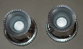 Judaica Small Pair Candlesticks Candle Holders Shabbat Holiday Hammered Nickel  image 3