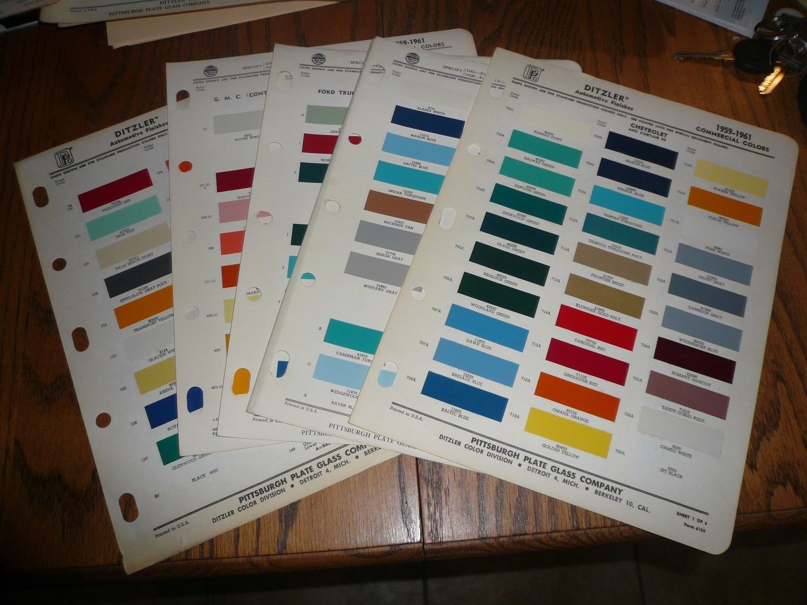 1959 61 Chevy Dodge Ford Gmc Internl And 50 Similar Items 1964 Color Chips Willys Commercial Ditzler Ppg Paint