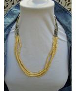 "24""  Triple Strand Tribal  Silver Tone Elongated Beads and Bone Bead Nec... - $9.95"