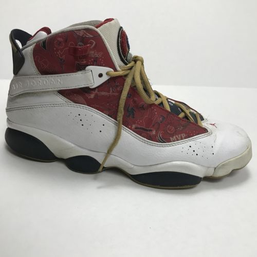 Nike Jordan Shoes 6 Rings Men 10.5M High Top Championship White/Red 322992-163