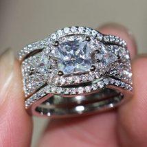 Princess Cut Diamond Wedding Ring Set 14k White Gold Plated 925 Sterling Silver - $131.22