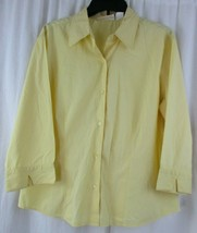 Chadwicks Size Large 3/4 Sleeve Yellow Button Down Blouse Shirt - $14.84