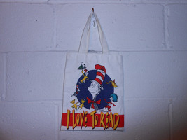 """Vintage 90s Dr. Seuss """"I Love to Read"""" Cat in The Hat Canvas Tote Bag - $12.99"""