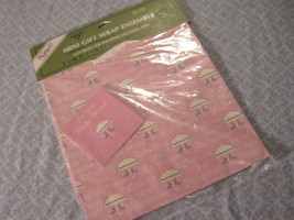 BRIDAL SHOWER Gift Wrap Wrapping Paper AMBASSADOR 1 Sheet Pink Green Umb... - $1.89