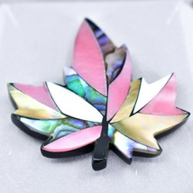 A.T. Storrs Wild Pearle Blush Abalone Shell Maple Leaf Silver Tone Pin Brooch image 2