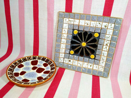 FuN Mid Century 1950's 2pc Colorful Mosaic Tile Flower & Round Dish Set ... - $20.00