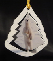 Polar Bear Christmas Ornament Wildlife Steel Tree Shape Snow New Winter  - $22.76