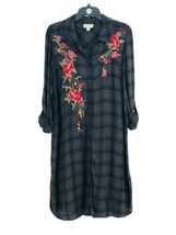 Style & Co. Women's Black Plus Plaid Embroidered Floral Shirt Dress 1X NEW - $29.70