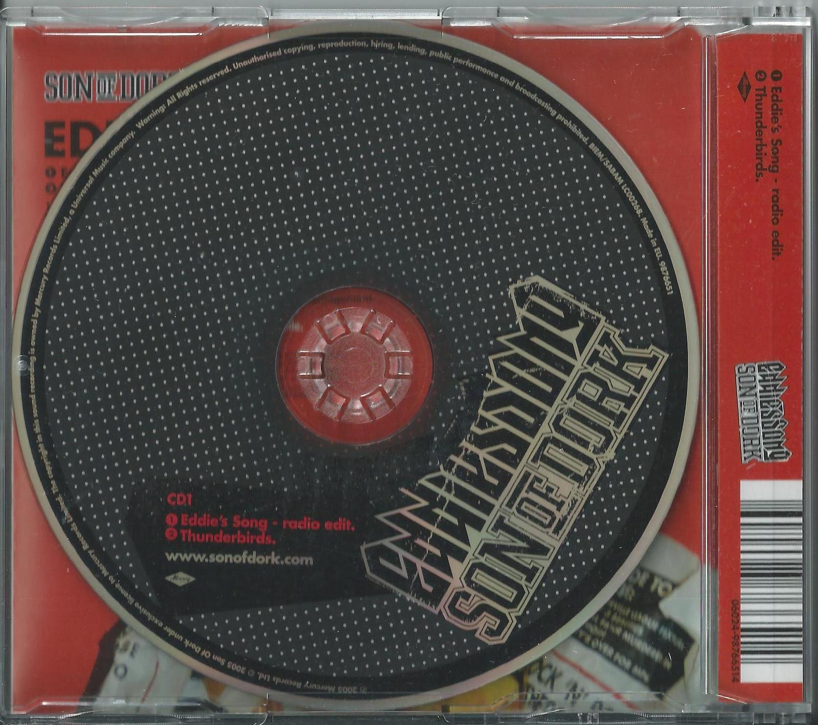 SON OF DORK - EDDIE'S SONG / THUNDERBIRDS 2005 UK CD1 SINGLE JAMES BOURNE BUSTED