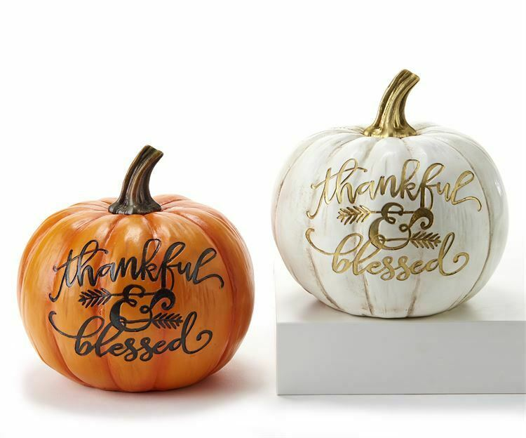 Set of 2 Fall Thanksgiving Pumpkins -THANKFUL & BLESSED White and Orange
