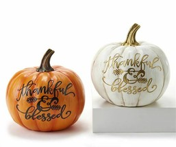 "Set of 2 Fall Thanksgiving Pumpkins -""Thankful & Blessed"" White and Orange"