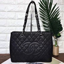 AUTHENTIC CHANEL QUILTED CAVIAR GST GRAND SHOPPING TOTE BAG BLACK SHW
