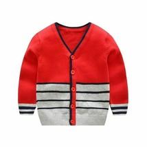 Autumn Winter Boys Warm Knitting Sweater Cardigan Buttons Close Striped ... - $28.50+