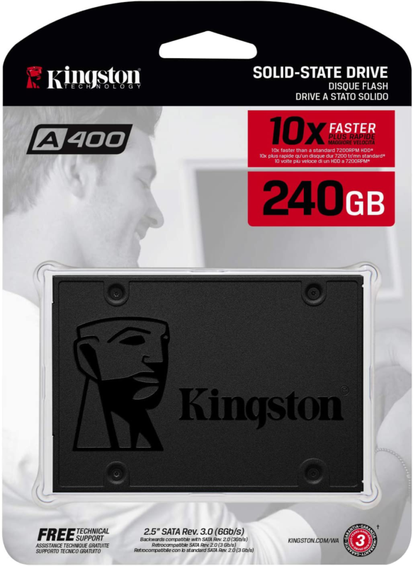 "Primary image for Kingston 240GB A400 SATA 3 2.5"" Internal SSD SA400S37/240G - HDD Replacement for"