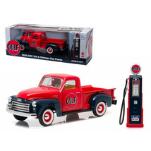 1950 GMC 150 Pickup Truck Gulf Oil with Vintage Gas Pump 1/18 Diecast Mo... - $87.35