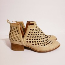 Jeffrey Campbell Taggart Ankle Booties Beige Cut Out Leather Boot Sz 8 - $69.99