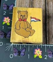 Dakin Teddy Bear Holding Flag Rubber Stamp D5631 Wood #G151 - $2.48