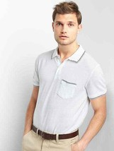 Gap Men Polo Shirt XL White Short Sleeve Pique Cotton Chests Patch Pocket New - $24.95