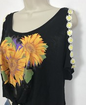 NWT Emma & Sam Crop Top Cold Shoulder Ties At Waist Black Sunflowers Wom... - $29.45