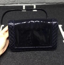 AUTHENTIC CHANEL Dark Navy Blue Patent Reverso Small Boy Flap Bag RARE image 2
