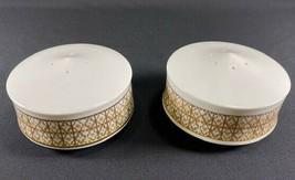 Retired Mikasa Lacerna Salt & Pepper Shakers-Bone China-Gold Silver Green  - $29.65