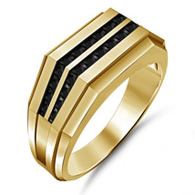 Mens Ring Black Simulated Diamond 14k Yellow Gold Finish Pinky Ring size 7-14 - $96.99