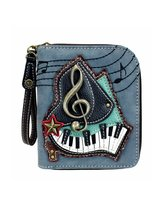 Chala Zip Around Wallet, Wristlet, 8 Credit Card Slots, Grand Piano Indigo