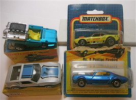 3 Matchbox Lesney '76 Firebird '72 Tyre Fryer '73 Rallye Royal 89 Dodge ... - $47.69
