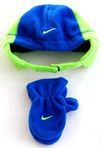Nike Blue & Green Fleece Winter Hat & Mittens Toddler 2-4T Toddler 2T - ... - $29.69