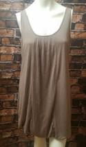 Joie Jersey Knit Bubble Dress Sz Medium Sleeveless Pleated Front Beige V... - $24.18